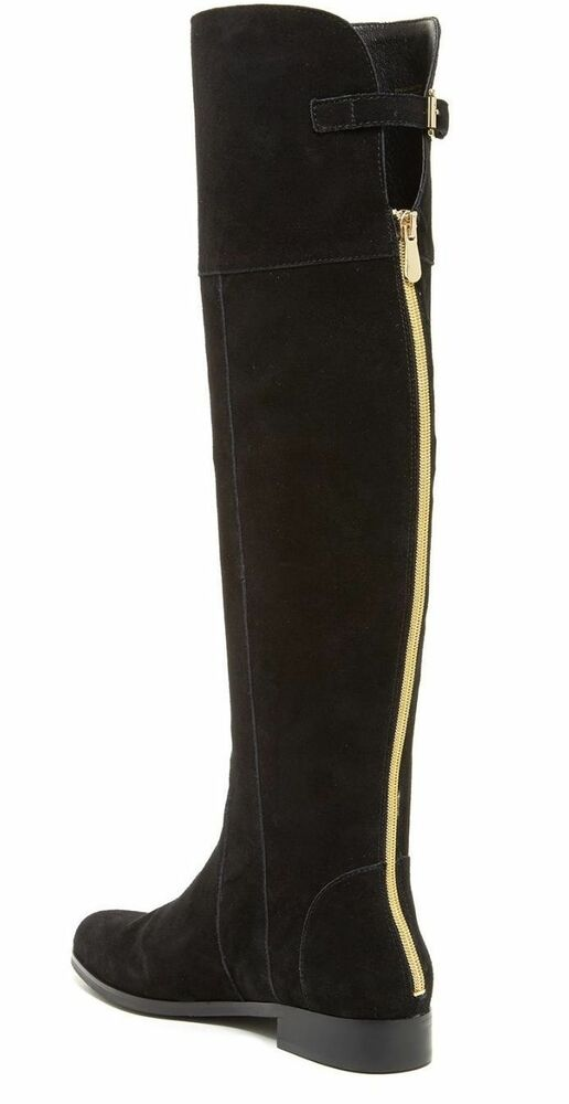 CHARLES DAVID REED BLACK SUEDE OVER THE KNEE FLAT BOOTS GOLD BACK ...