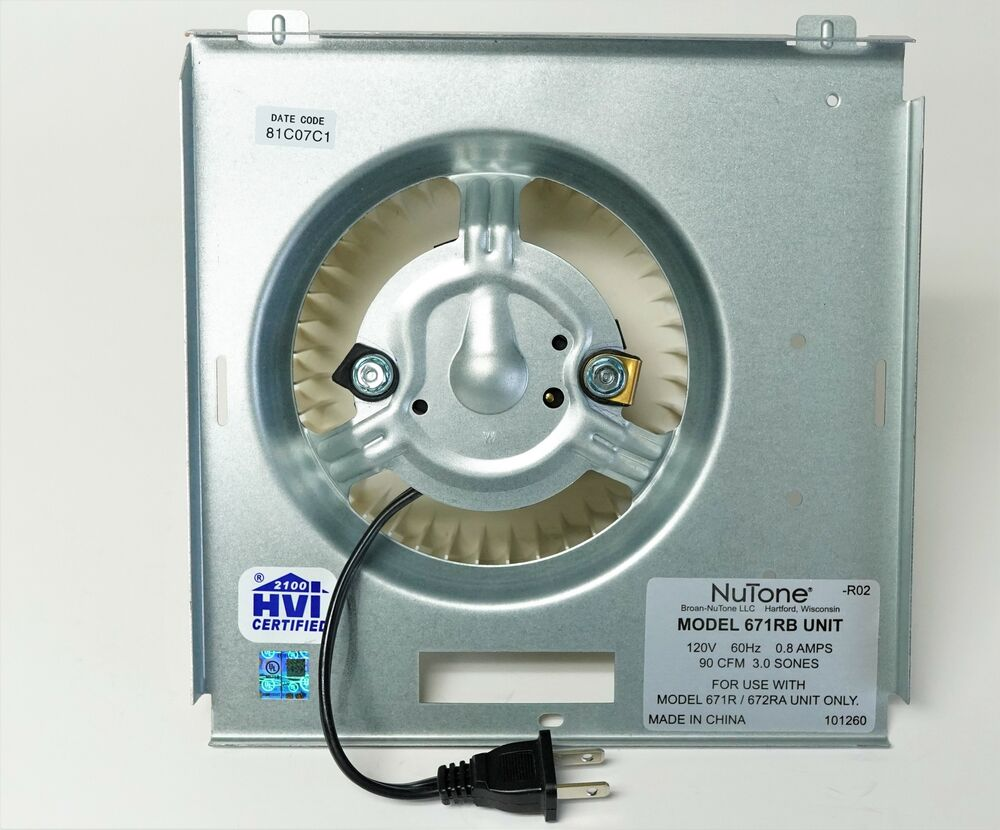 S97017708 Broan Nutone Bath Fan Vent Motor Asm For 671rb
