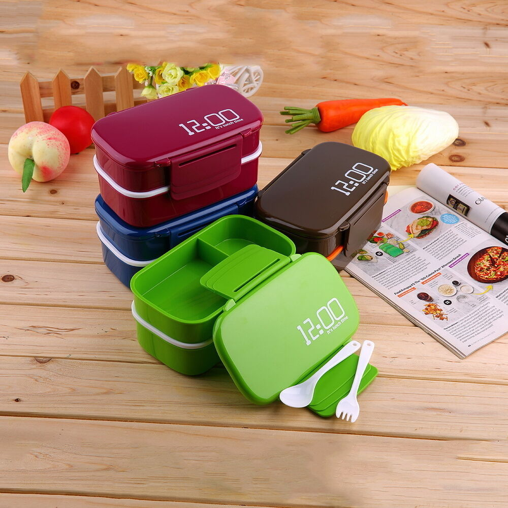 portable 2 layers bento lunch box plastic food container lunch container ov ebay. Black Bedroom Furniture Sets. Home Design Ideas