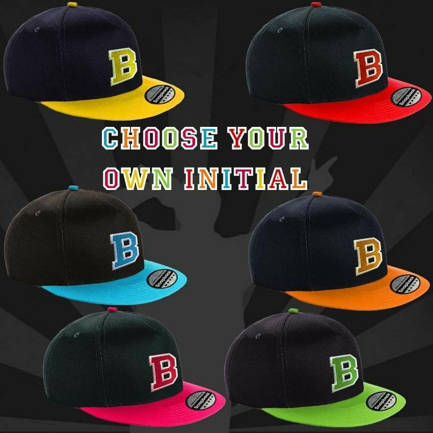 94e14c0b3dc Details about BOYS GIRLS SNAP BACK BASEBALL CAP FLAT PEAK YOUTH NEW PERSONALISED  INITIAL