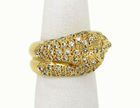 18k Yellow Gold 1.68ctw Diamond & Rubies Panther Head Bypass Ring