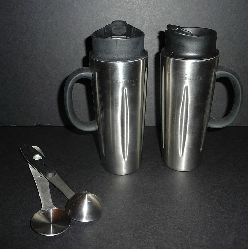 Starbucks Travel Coffee Maker : 2 Starbucks Coffee Barista French Press Travel Mugs with Sip Tops and Scoops eBay