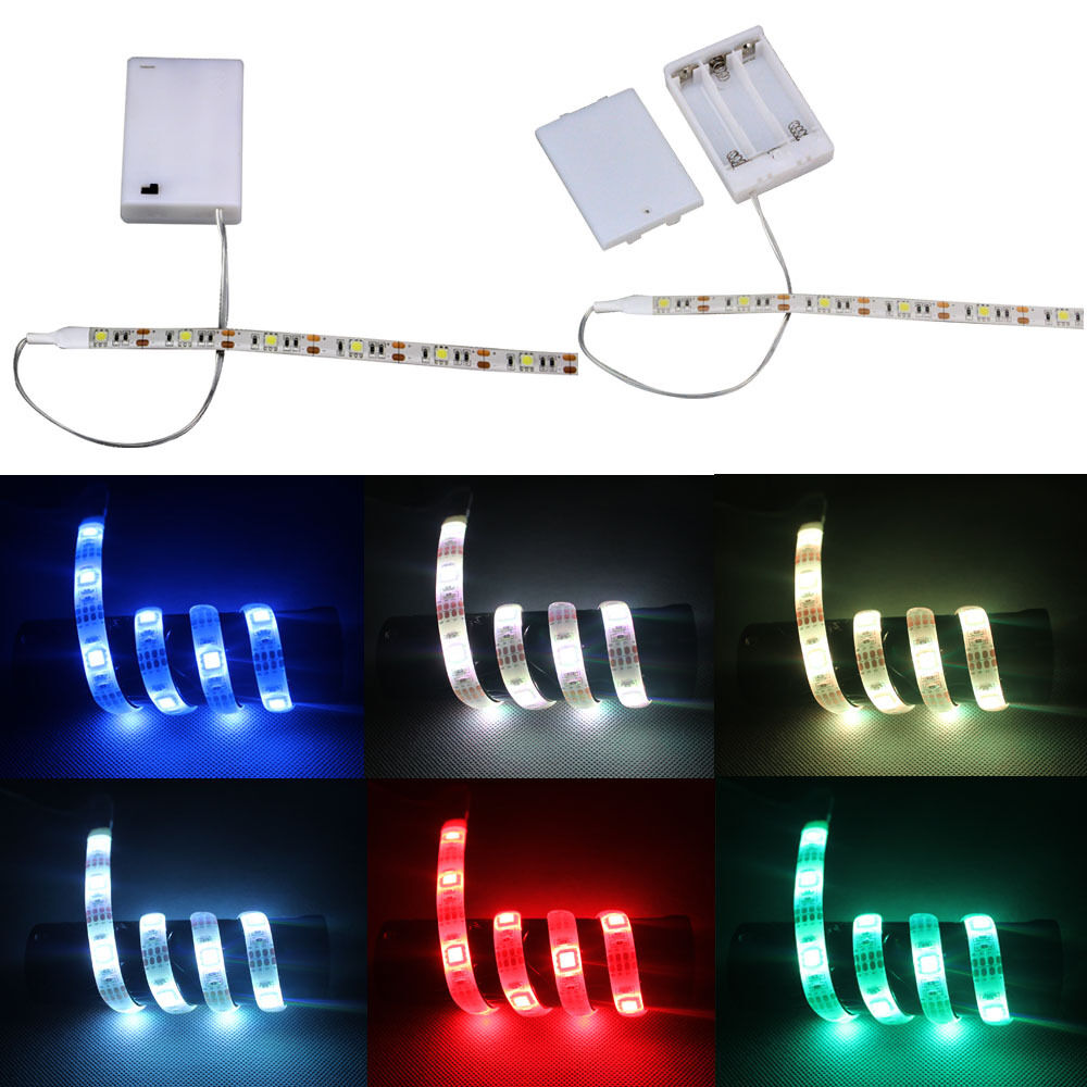 led strip light with battery box waterproof 50 500cm for. Black Bedroom Furniture Sets. Home Design Ideas