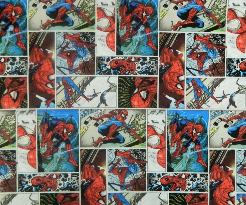 Patchwork quilting sewing fabric spiderman comic kids for Children s fabric panels