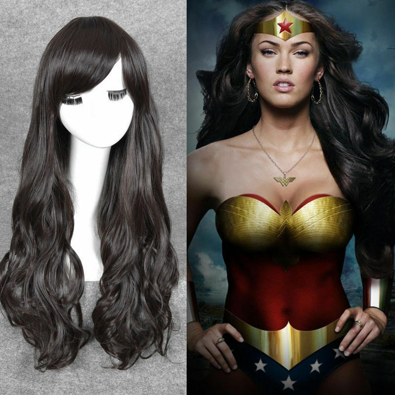 Wonder Woman Diana cosplay wig long Dark Brown wavy hair ...
