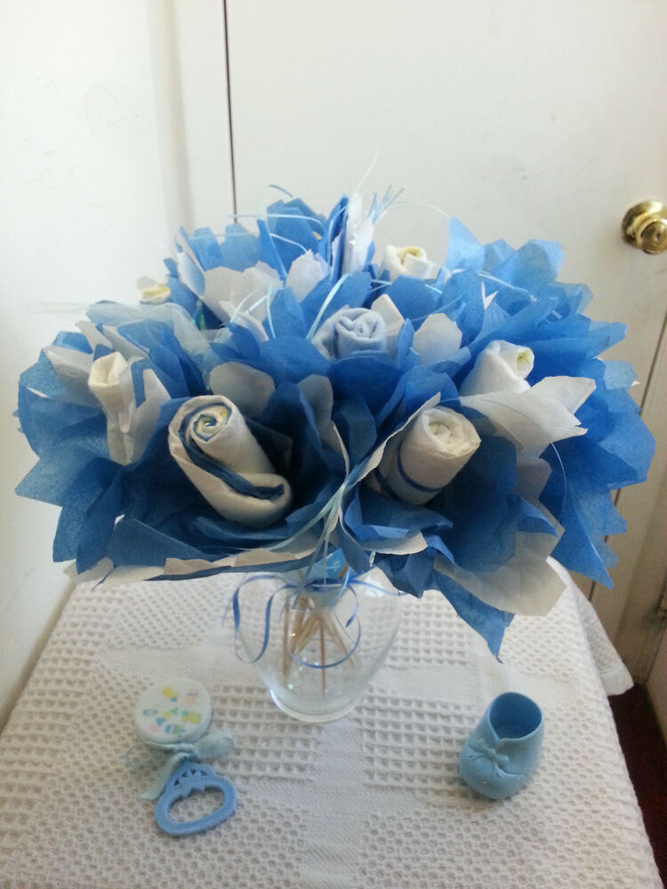 Diaper rose flower bouquet baby shower table cake