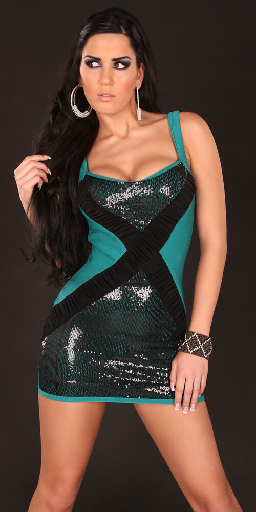 a830e2274a62 SEXY MINI ABITO SERA VERDE NERO STRETCH SCOLLATO DISCO PARTY VESTITO  ADERENTE SM