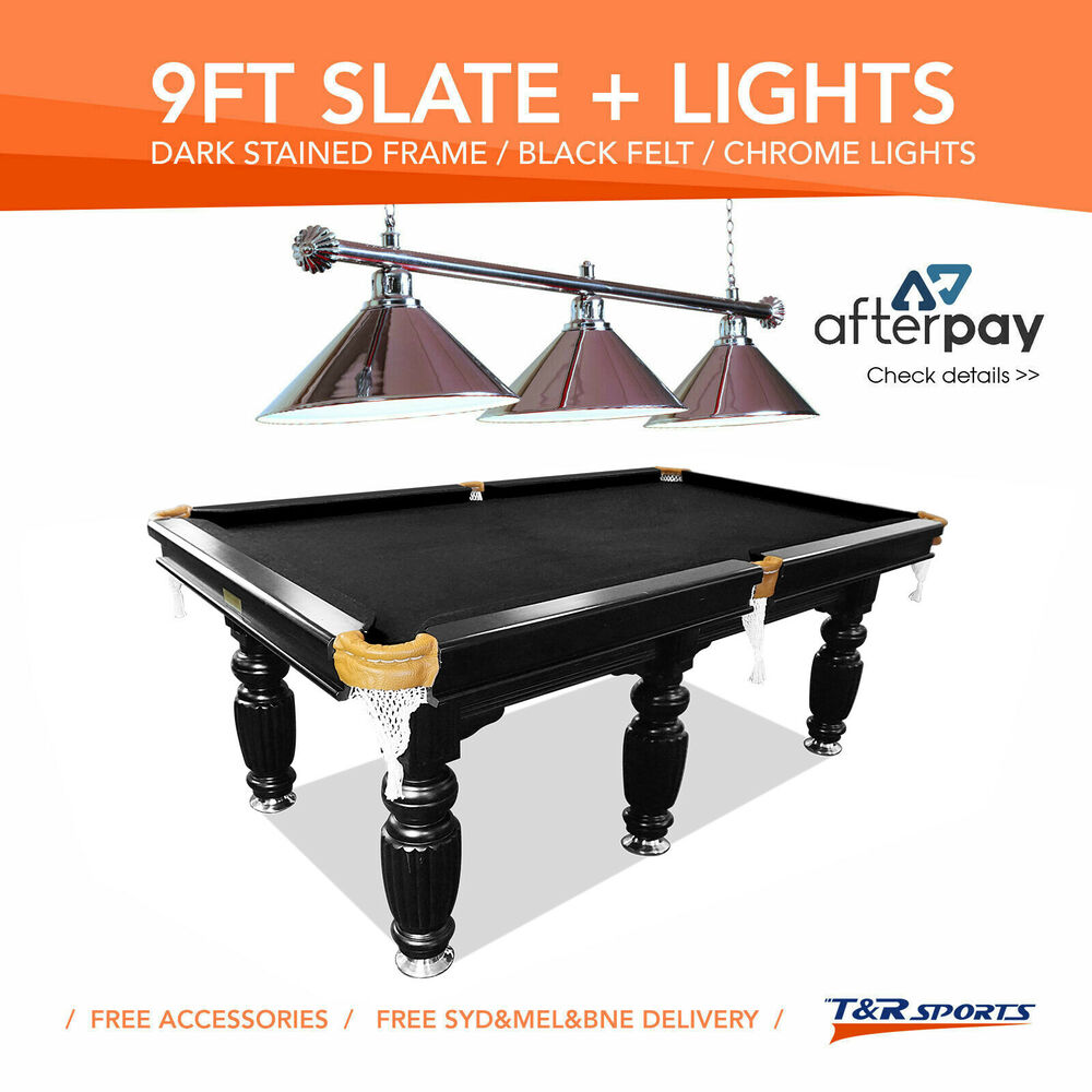 Pool Table Light Black: 9FT BLACK SLATE POOL SNOOKER TABLE + SILVER METAL LIGHT
