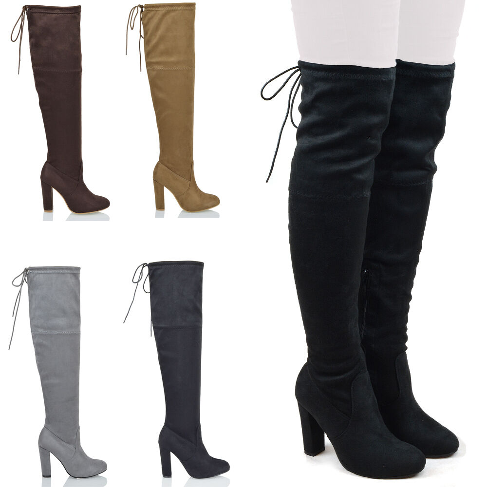 new womens thigh high boots ladies over the knee stretch. Black Bedroom Furniture Sets. Home Design Ideas