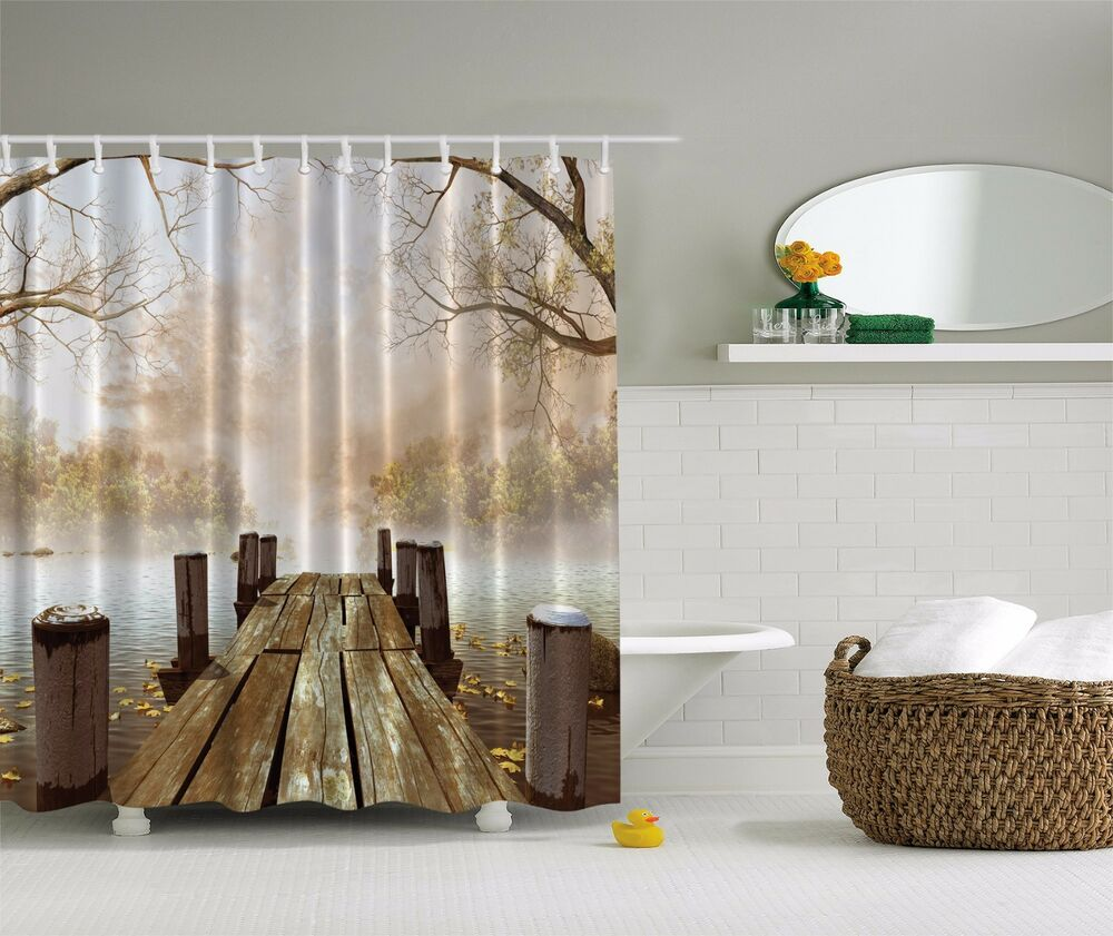 Pier On Lake Autumn Trees Fabric Shower Curtain Digital