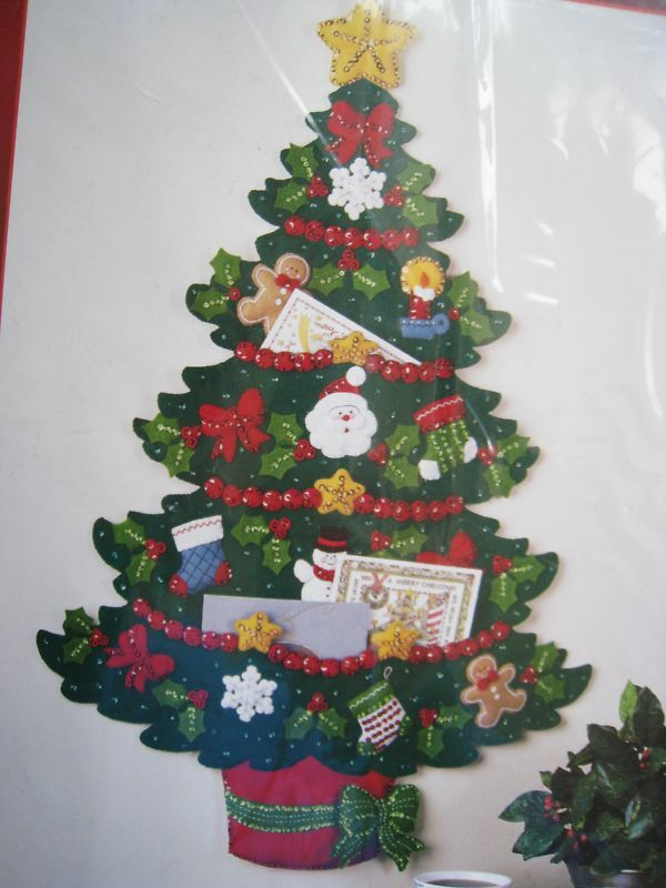 Bucilla felt applique kit christmas tree card holder for Door xmas card holders