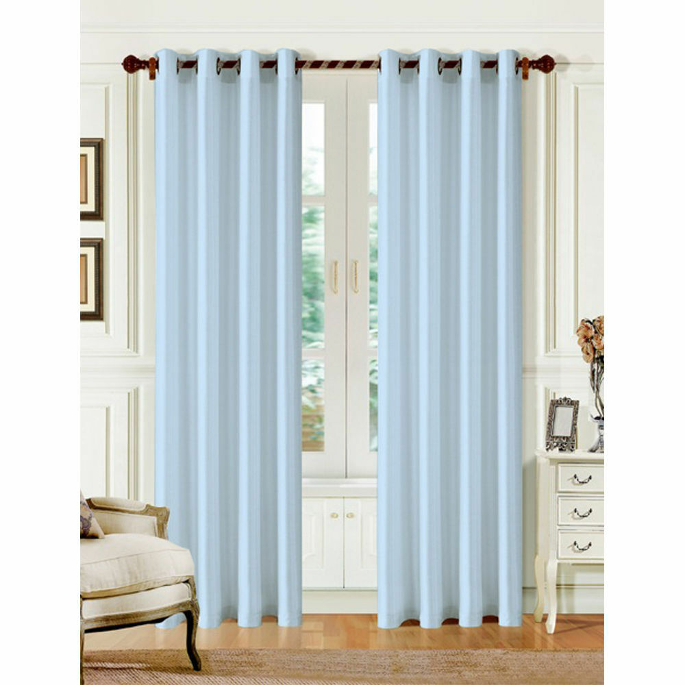 2 PANELS SOLID GROMMET FAUX SILK WINDOW CURTAIN DRAPES ...