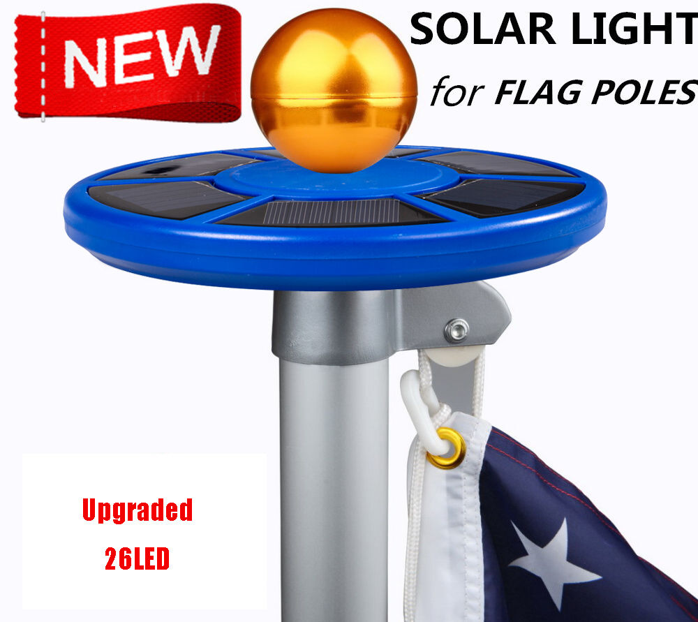 upgraded solar light 26 20leds flagpole top mount for yard. Black Bedroom Furniture Sets. Home Design Ideas