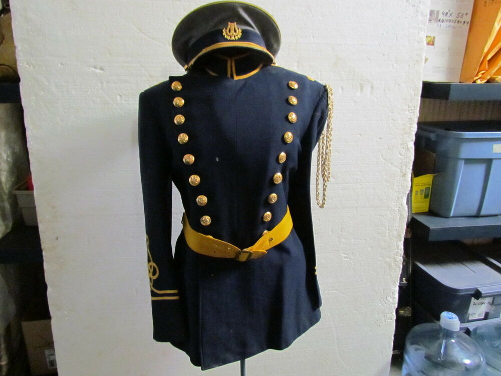 VINTAGE MENS MARCHING BAND UNIFORM SIZE SMALL NAVY BLUE ...