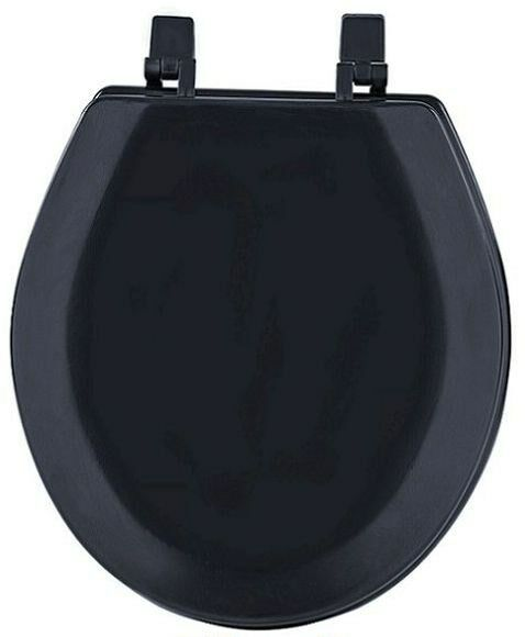 hard wood standard round toilet seat black ebay. Black Bedroom Furniture Sets. Home Design Ideas