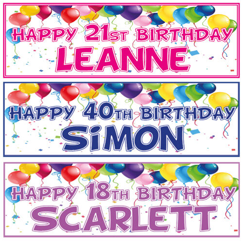 2 PERSONALISED BIRTHDAY BANNERs 3ft