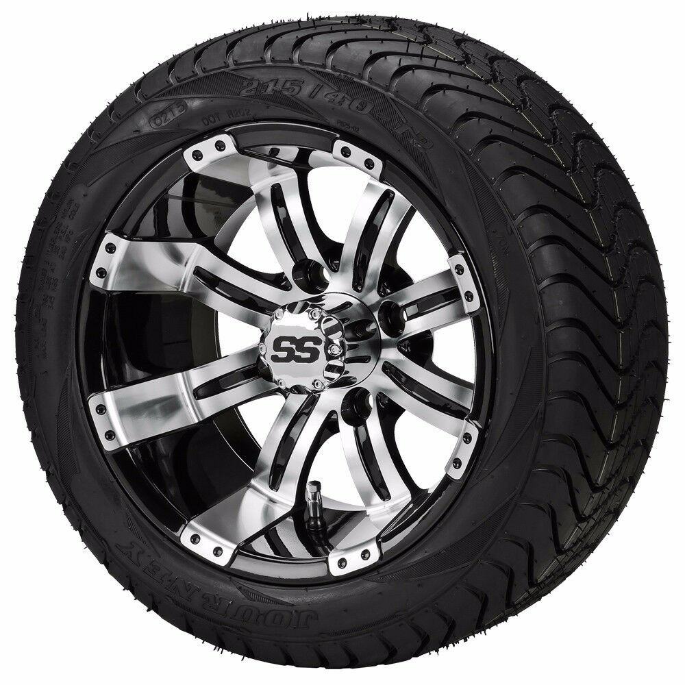set of 4 215 35 12 tire on a 12x7 black machined type 9 wheel w free freight ebay. Black Bedroom Furniture Sets. Home Design Ideas