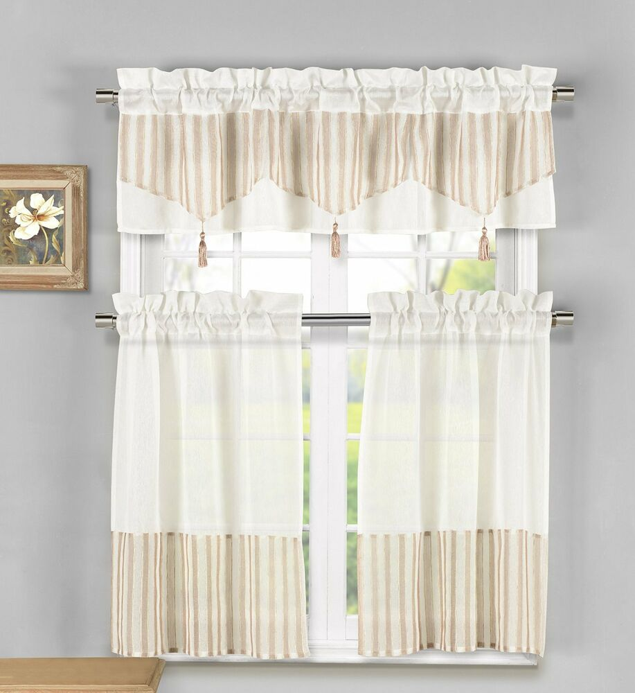 Linen Stripe Kitchen Curtains: Ivory Yellow Beige Lynna Striped Faux Linen 3-Piece