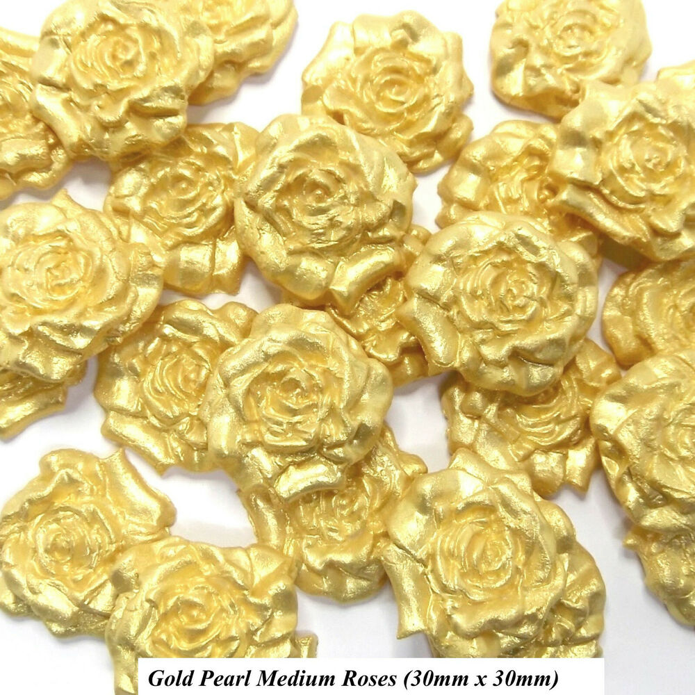 Gold Wedding Cake Decorations: 12 Gold Pearl Sugar Roses Edible Sugarpaste Golden Wedding