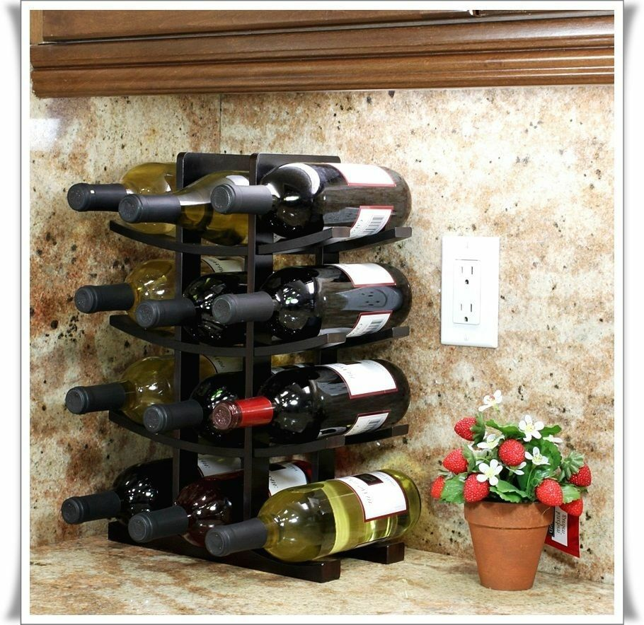 Wine 12-Bottle Storage Rack Bamboo Countertop Bar Liquor