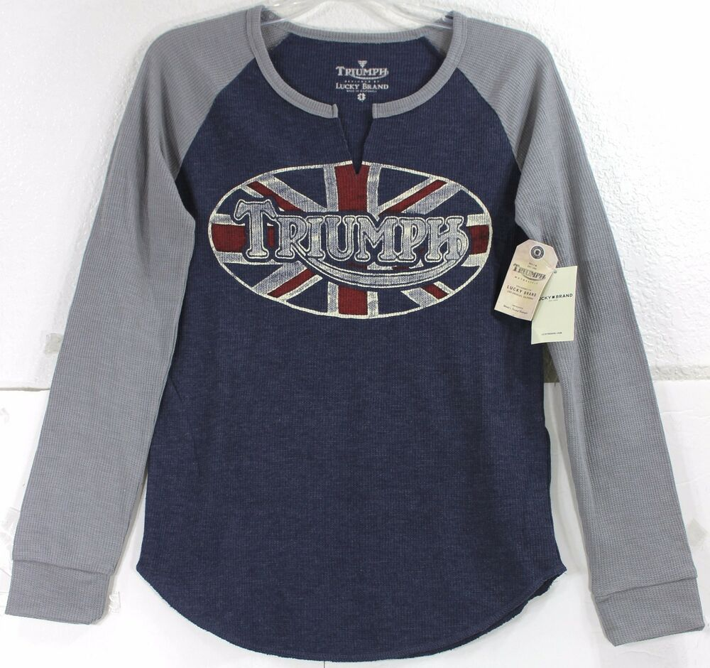 Nwt Lucky Brand Triumph Oval Slit Front Navy Long Sleeve