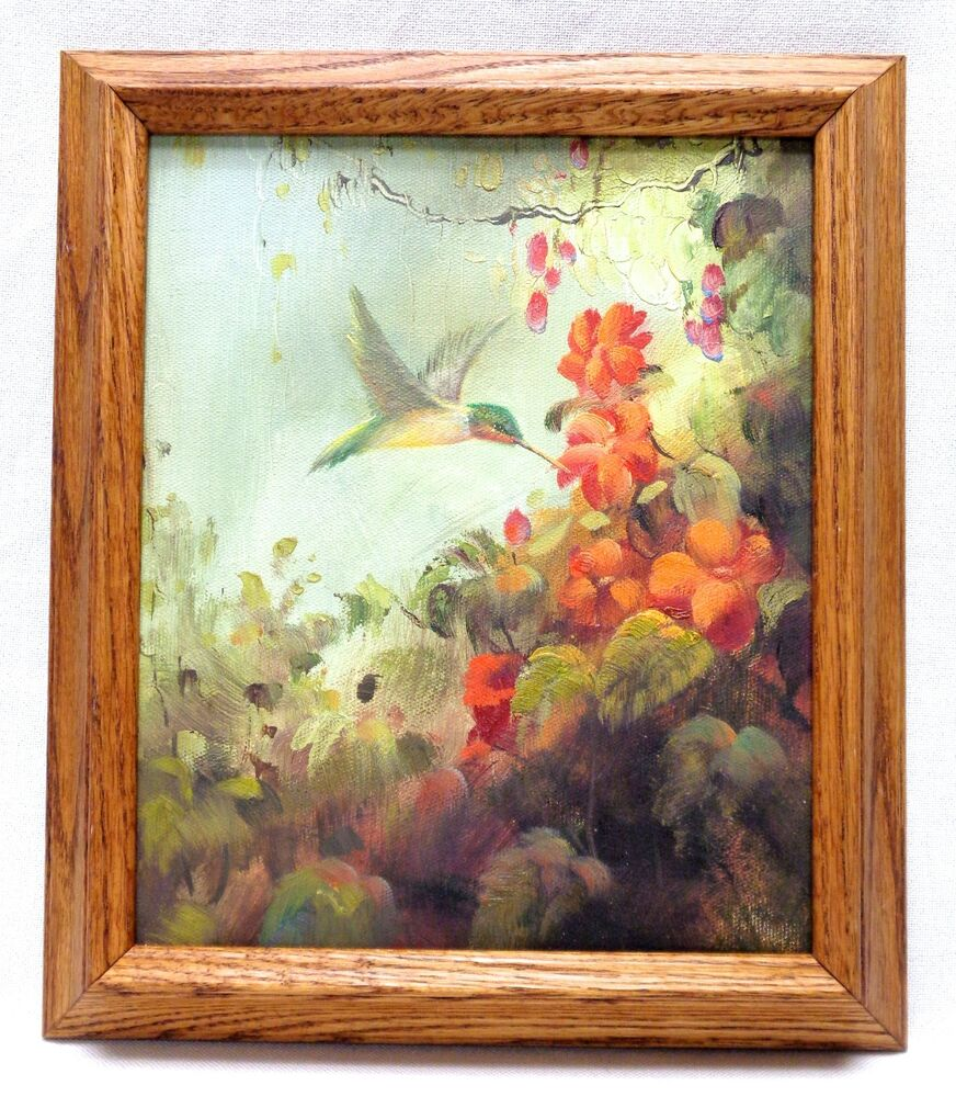 canvas oil painting humming bird flowers w vintage style wood frame 13x15 ebay. Black Bedroom Furniture Sets. Home Design Ideas