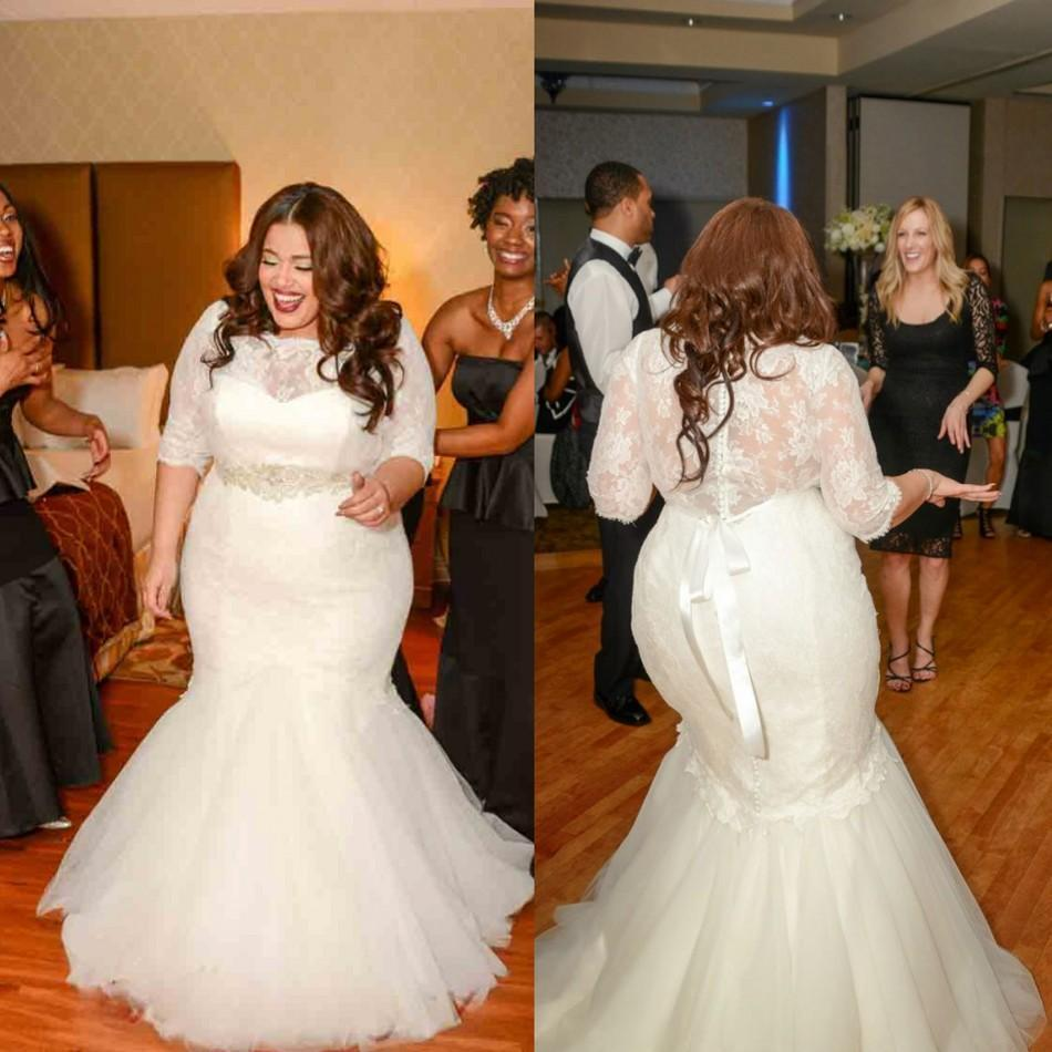 Plus Size Lace Wedding Dresses Mermaid Bridal Gown With
