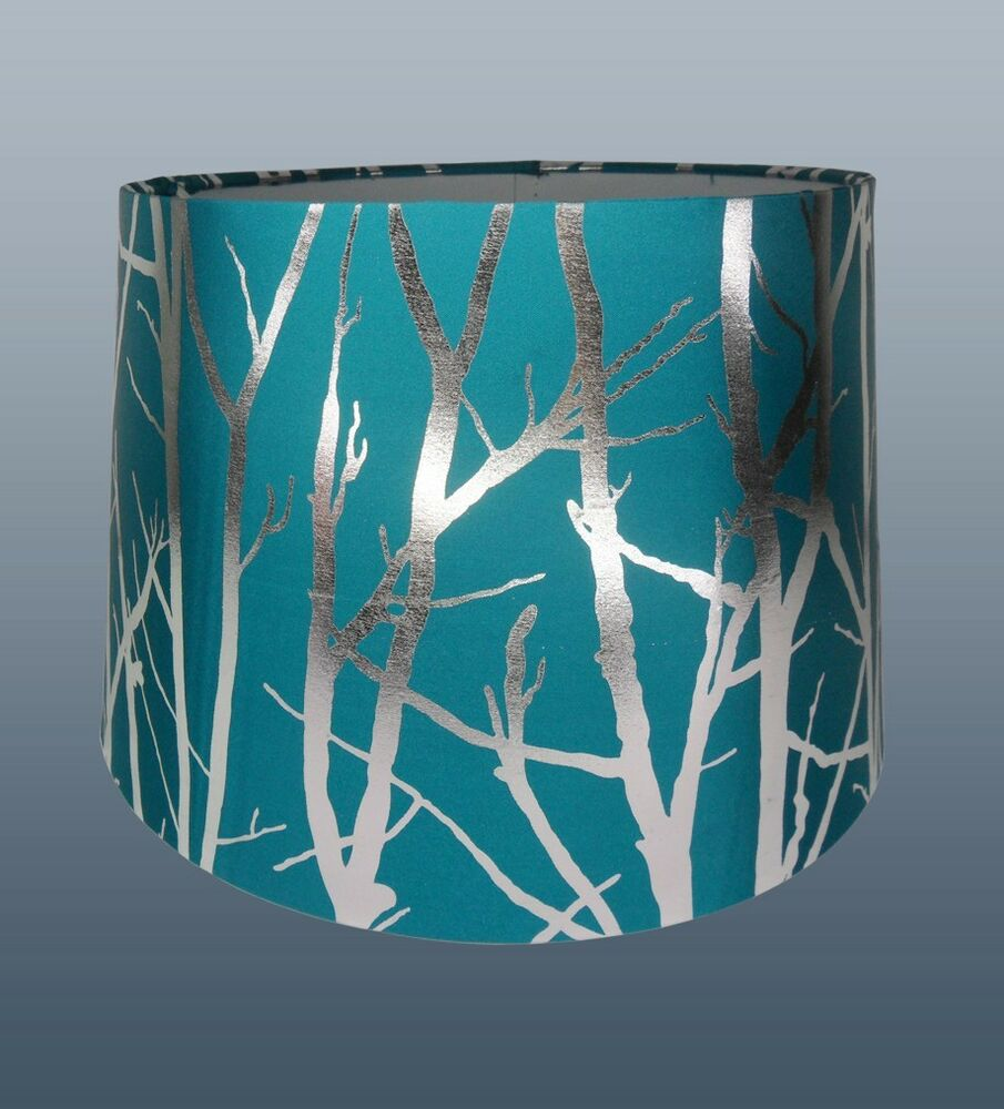 """TEAL BLUE LAMPSHADE TREE BRANCH EFFECT 11"""" EMPIRE DRUM"""