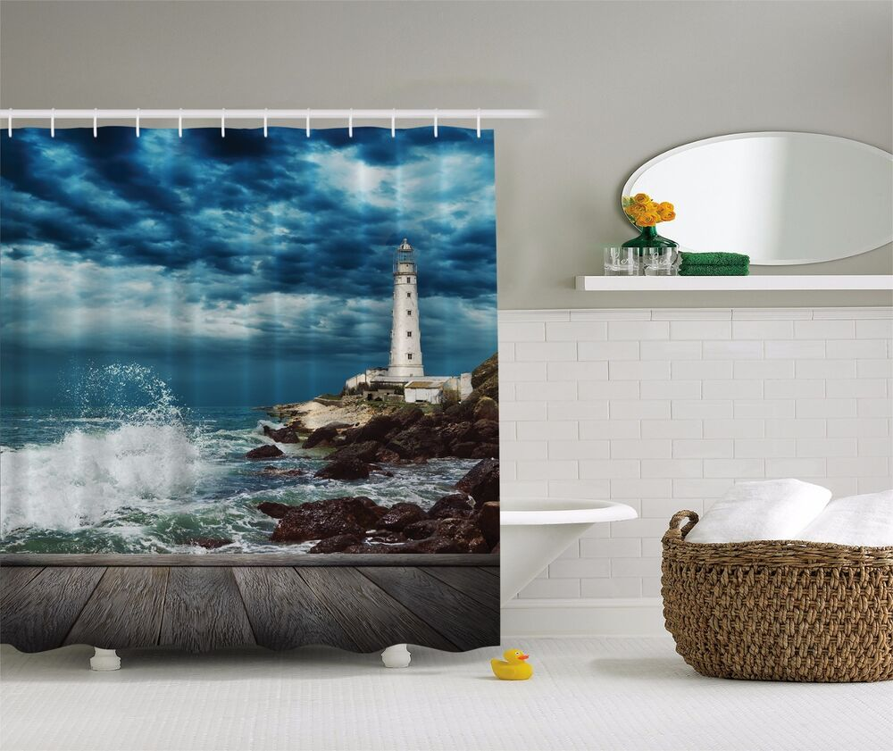 Nautical Lighthouse On Rocky Ocean Beach Coast Fabric