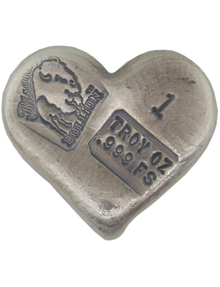Hand Poured 1 Troy Ounce 999 Silver Bison Bullion Heart