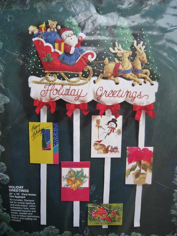 Bucilla christmas felt applique kit holiday greetings card for How to make christmas card holders wall
