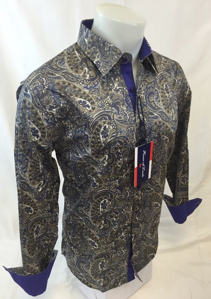 Mens House Of Lords Designer Woven Dress Shirt Purple Blue