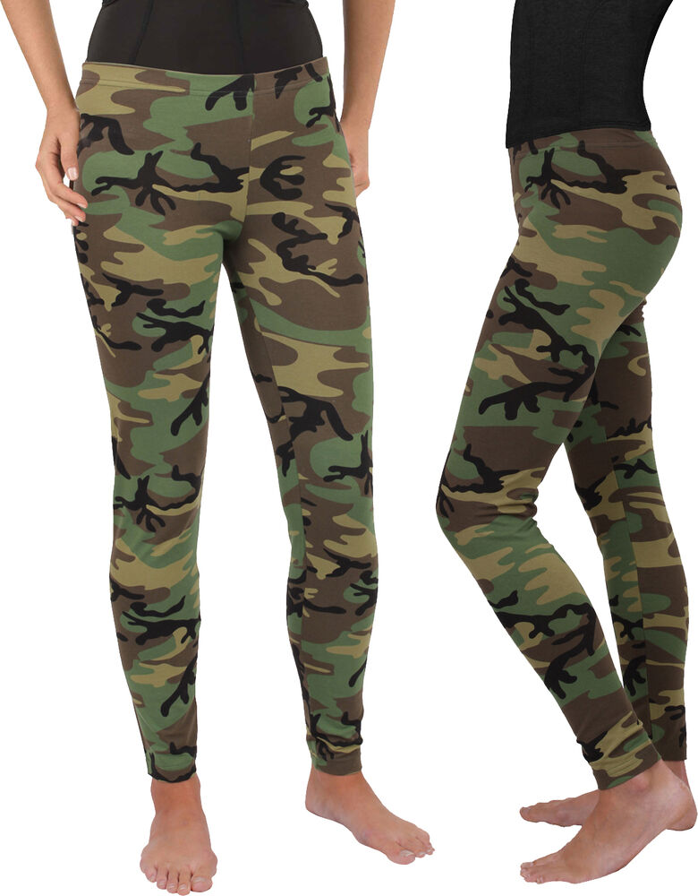 Women s Camo Full Length Stretch Pants Leggings Spandex Yoga Active Army  Green  23be334d181
