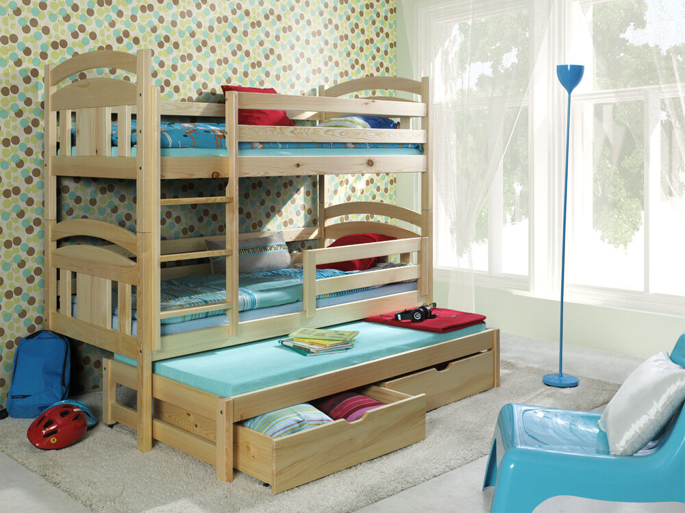 Triple sleeper bunk beds solid wooden pine childrens furniture mattresses white ebay Wooden childrens furniture