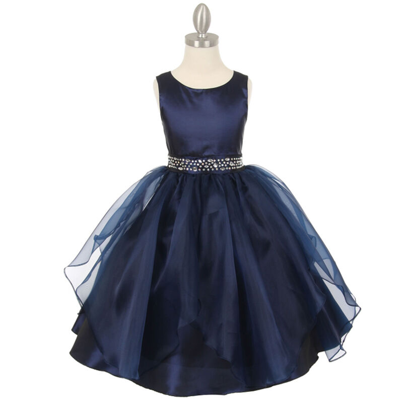 Navy blue flower girl dresses birthday wedding formal for Navy dresses for weddings