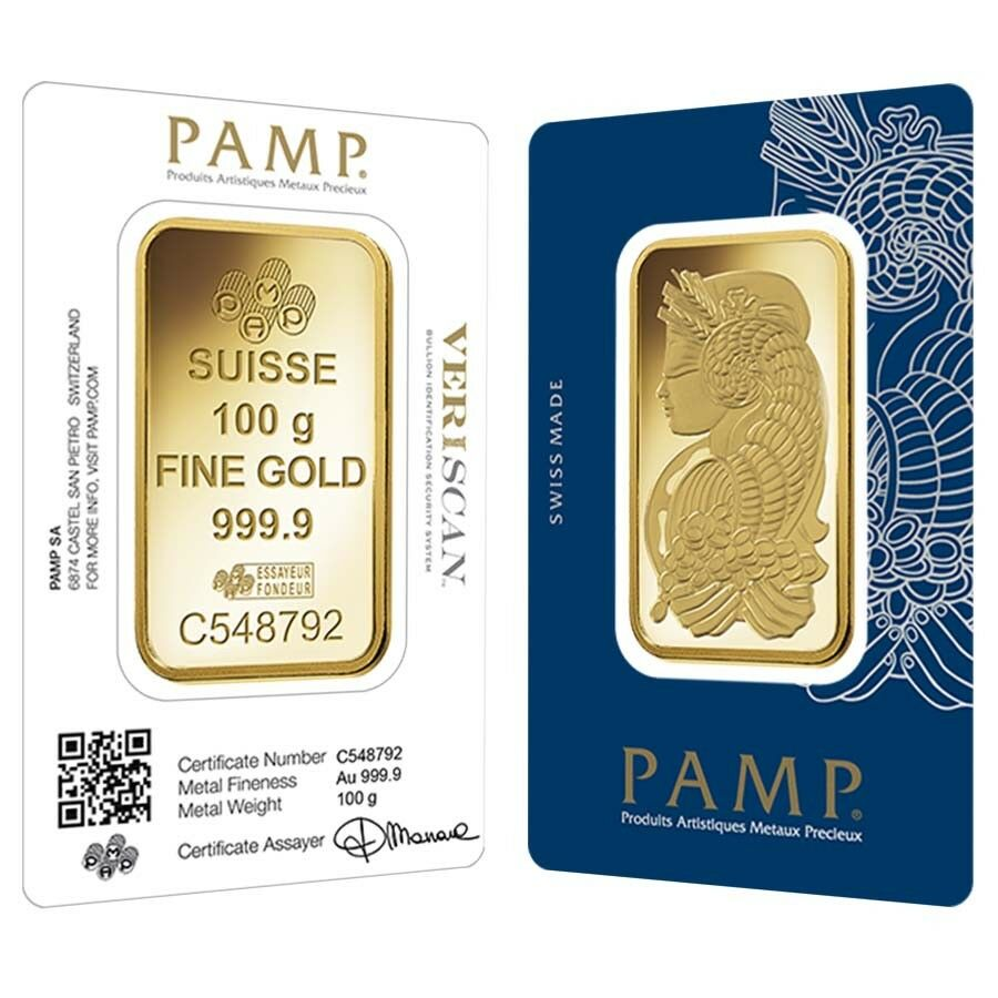 100 Gram Gold Bar Pamp Suisse Lady Fortuna Veriscan 9999