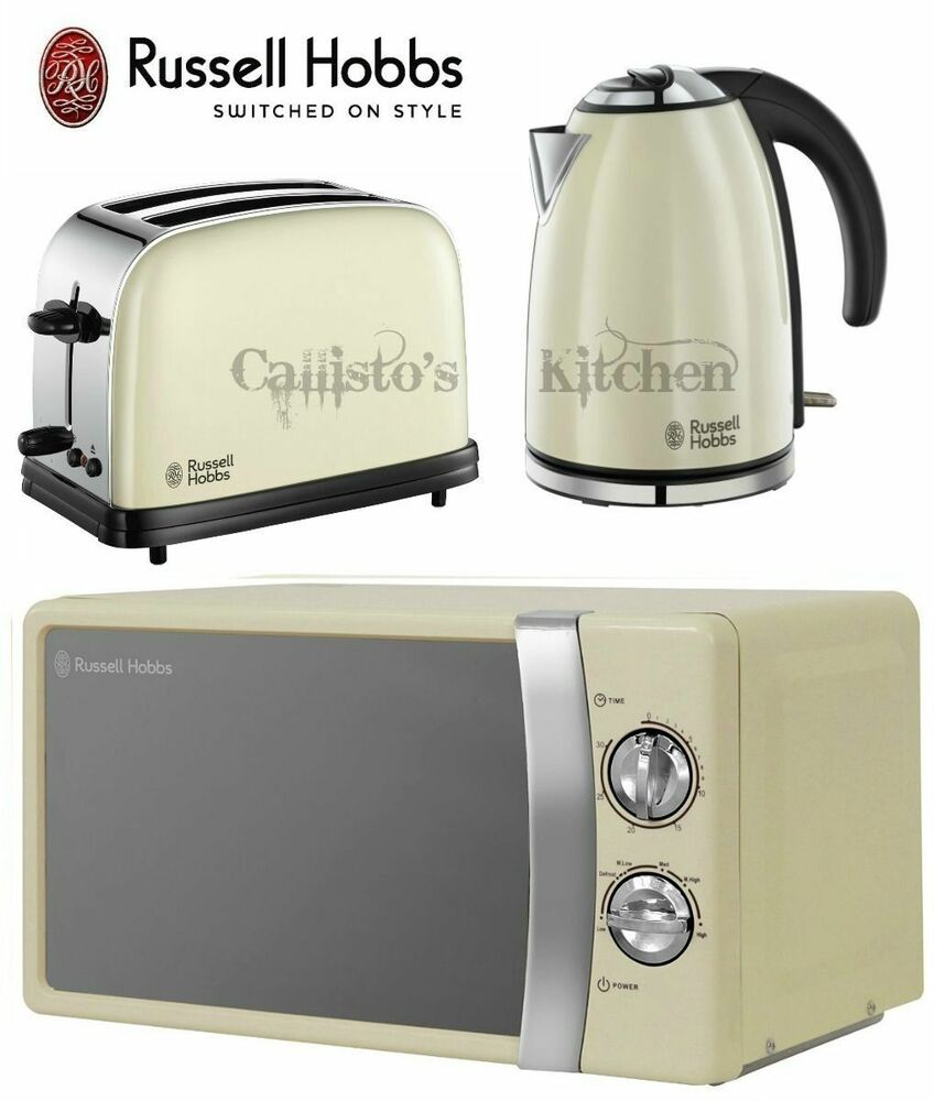 kettle and toaster set microwave russell hobbs colours cream microwave new ebay. Black Bedroom Furniture Sets. Home Design Ideas