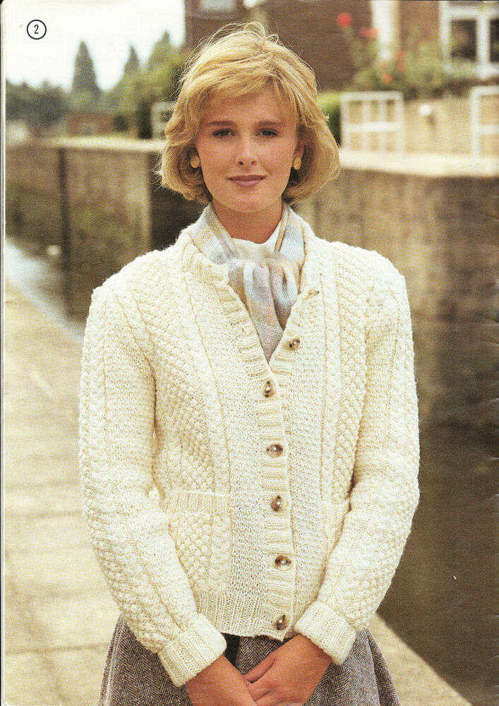 Knitting Pattern For Ladies Cardigan With Pockets : Knitting PATTERN -Ladies-Cable & moss stitch Aran cardigan fits 32-42&quo...