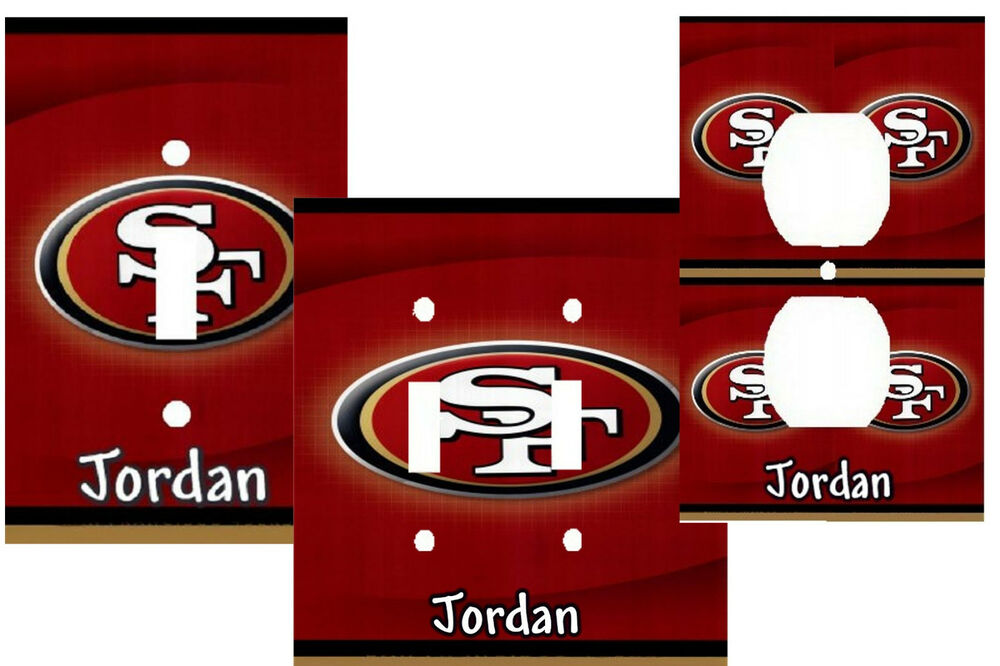 Personalized san fransisco 49ers football light switch for 49ers bathroom decor