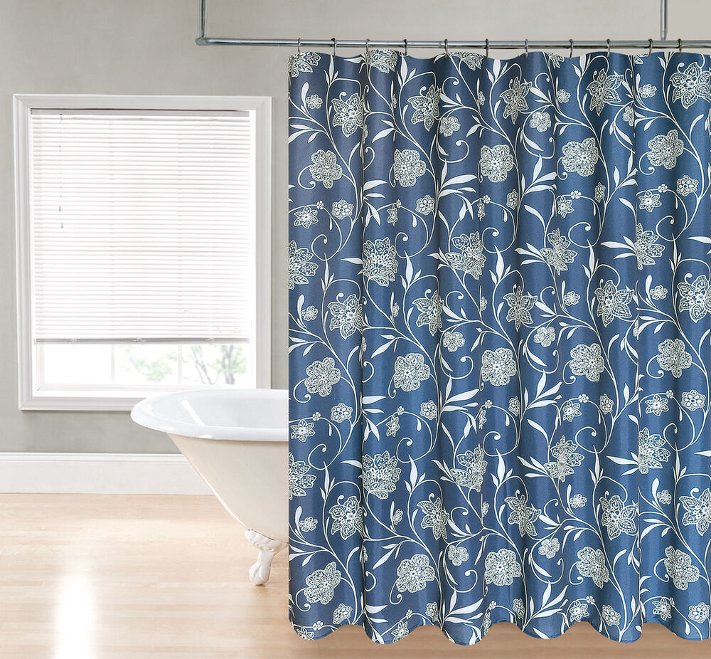 Vanessa Navy Blue Floral Scroll Paisley Fabric Shower