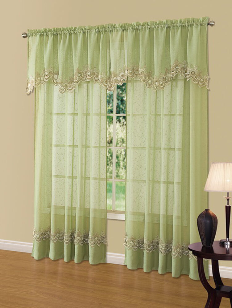 Scalloped Valances For Windows : Cavalier green sheer scalloped macrame lace trim window