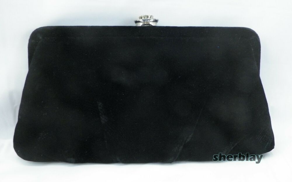 81b2718c8e6e Details about Vintage Garay Black Velvet Clutch Purse Bag Handbag