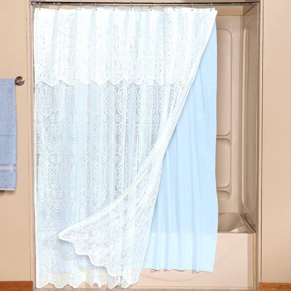 White lace shower curtain attached valance blue liner polyester vinyl