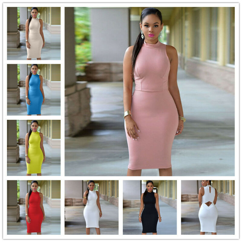 M-4XL Women Sexy Bodycon Bandage Dress Sleeveless Open Back Cocktail Party Dress