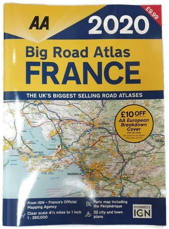 Aa big road atlas france 2018 road map a3 rrp for Atlas france meuble