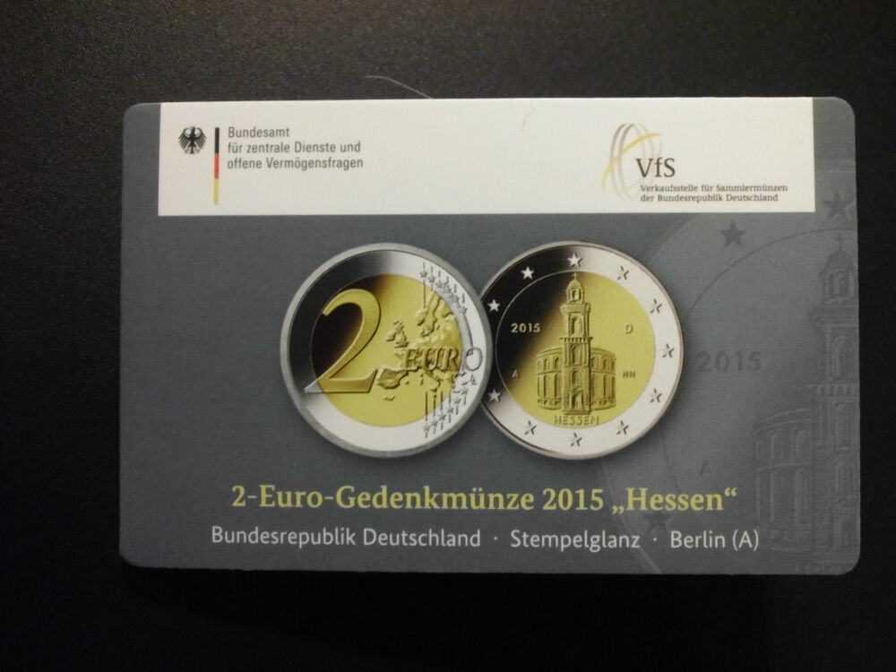 2 euro sonder gedenk m nze deutschland hessen 2015 a vfs coincard der wmf ebay. Black Bedroom Furniture Sets. Home Design Ideas