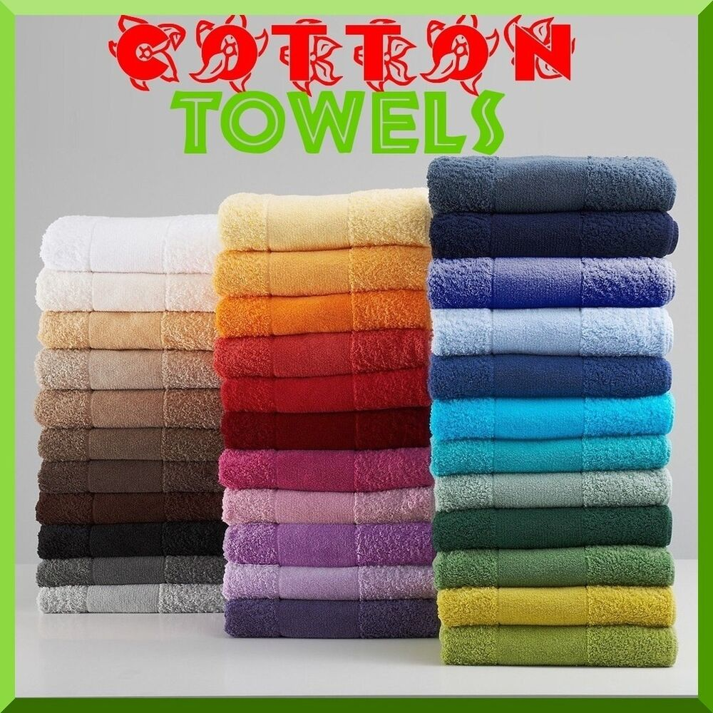100% COTTON PLAIN TOWELS FACE HAND BATH TOWEL & LARGE