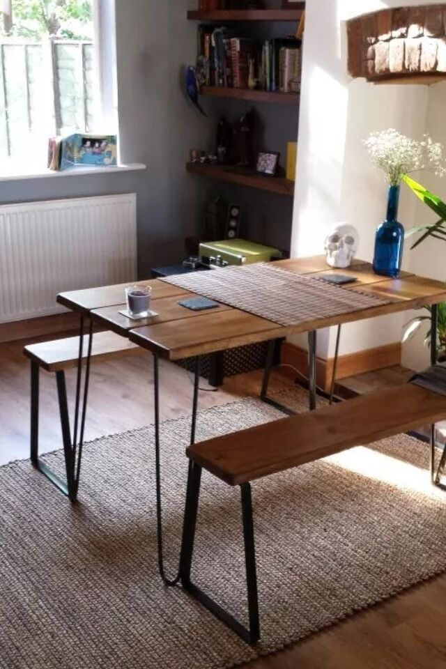 Vintage small table and benches with hairpin legs and for Vintage hairpin table legs