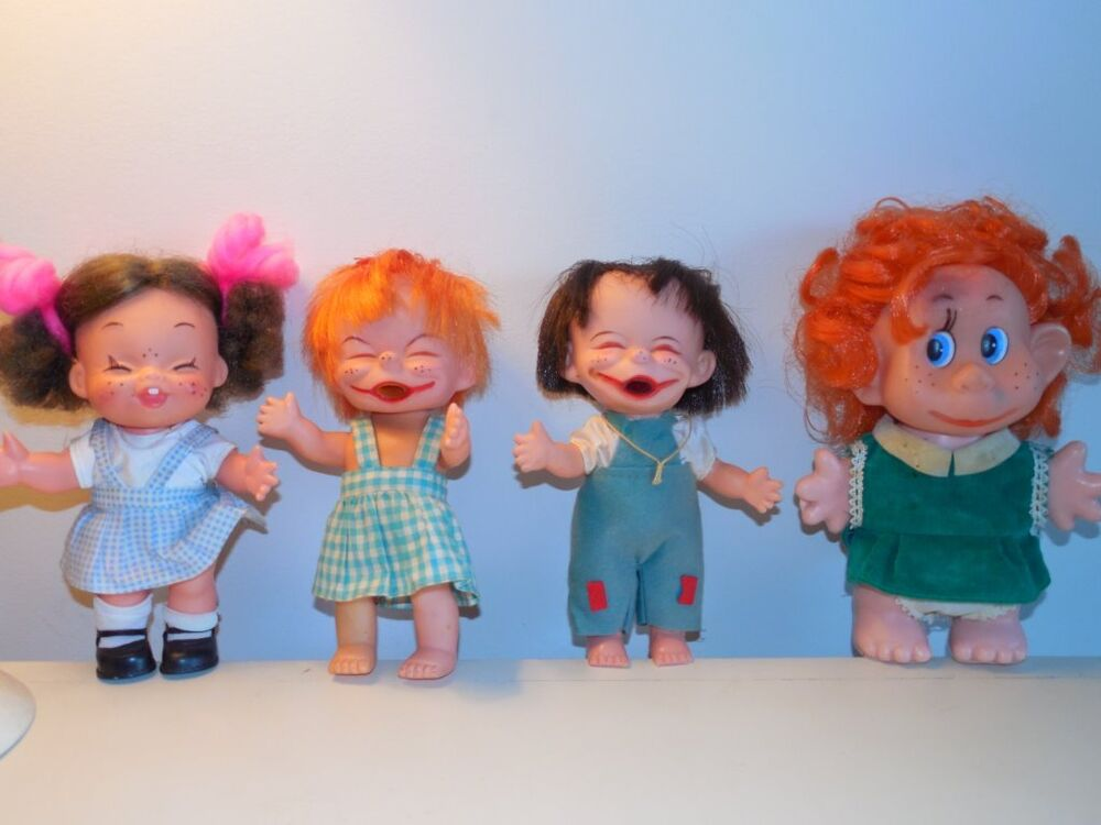 Lot Of 4 Vintage 1960 S Holiday Fair Vinyl Laughing Dolls