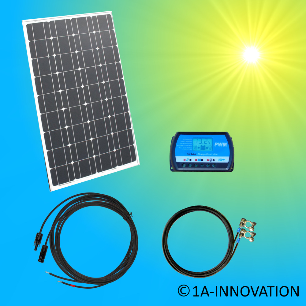 100w mono komplett set 12v solaranlage solarmodul garten camping laderegler watt ebay. Black Bedroom Furniture Sets. Home Design Ideas